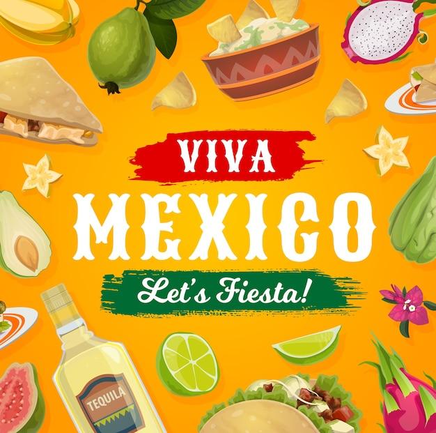 ビバメキシコフィエスタパーティーの食べ物と飲み物。メキシコのタコス、テキーラ、アボカドのワカモレとコーントルティーヤのナチョス、ケサディーヤ、グアバ、ライム、ブーゲンビリアの花、お祝いのポスター