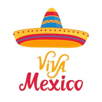 Viva mexico рисованной буквы с сомбреро