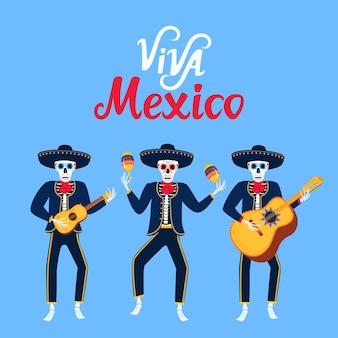 Да здравствует мексика рисованной надписи. мультяшные мертвые мариачи играют на музыкальных инструментах. сахарный череп векторные иллюстрации. день независимости.