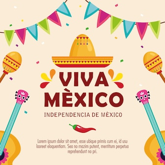 Viva mexico, happy independence day, 16 of september hat traditional and decoration.