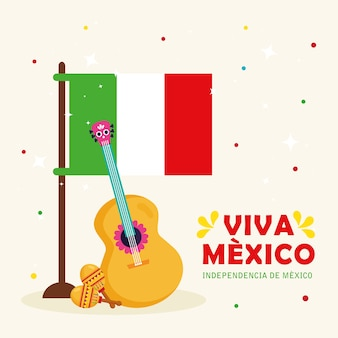 Viva mexico, happy independence day, 16 of september with flag, guitar and maracas.