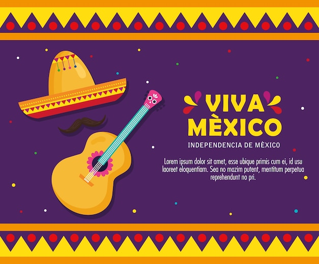 Viva mexico, happy independence day, 16 of september with hat and guitar.