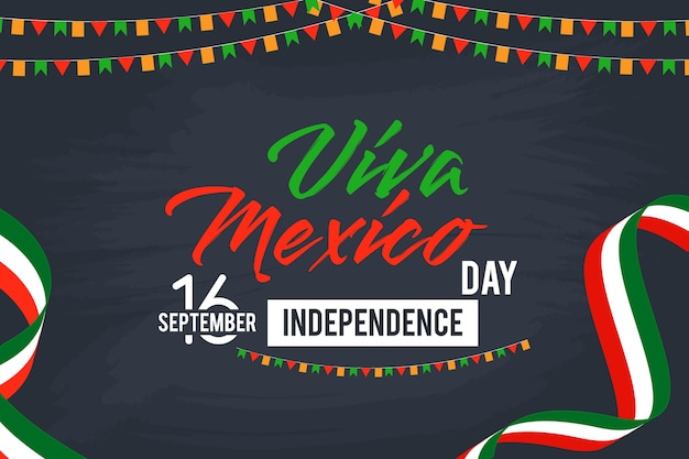 Viva mexico happy independence day vector background