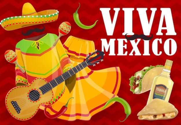 비바 멕시코 명절 음식과 멕시코 축제 옷. 솜브레로 모자, 마라카스 및 기타, 칠리 및 할라피뇨 고추, 데킬라 마가리타, 타코 및 퀘사 디아, 마리아치 뮤지션 콧수염, 드레스