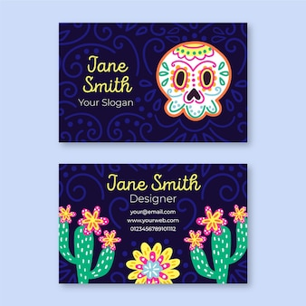 Viva mexico horizontal business card template