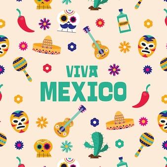 Viva mexico иконки фон дизайн, культура тема векторные иллюстрации