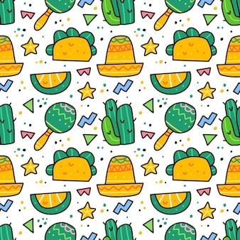 落書きスタイルのシームレスなパターンでビバメキシコ