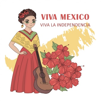 Viva mexico independence day illustration set