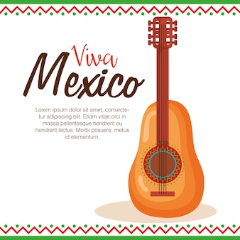 Viva mexico label with guitar