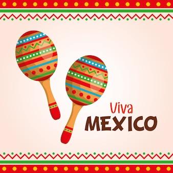 Viva mexico label with maracas