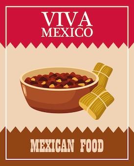 ビバメキシコのレタリングとリフライド豆とタマレのメキシコ料理。