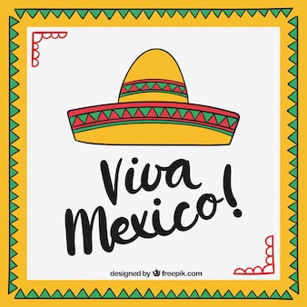 Viva mexico lettering background with sombrero