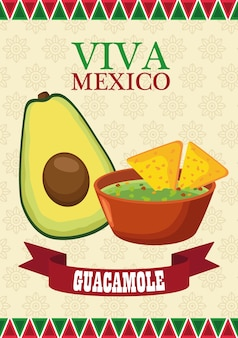 Viva mexico lettering and mexican food poster with avocado and guacamole.