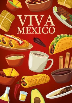 Viva mexico lettering and mexican food with menu in red background.