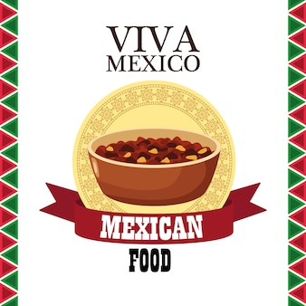 Viva mexico lettering and mexican food with refried beans in ribbon frame.