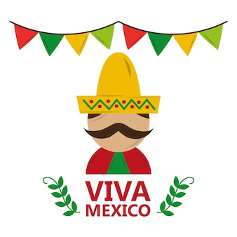 Viva mexico man wearing traditional clothes hat and mustache