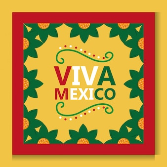 Viva mexico poster frame flower decoration