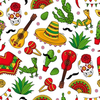 Viva mexico seamless pattern with symbols of mexican culture on a white background. guitar, sombrero, maracas, cactus and skull colorful vector background. vector illustration