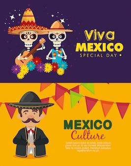 Viva mexico. impostare il giorno dei morti con l'uomo mariachi e scheletri