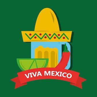 Viva mexico текила лимон и шляпа мексиканский перец чили перец
