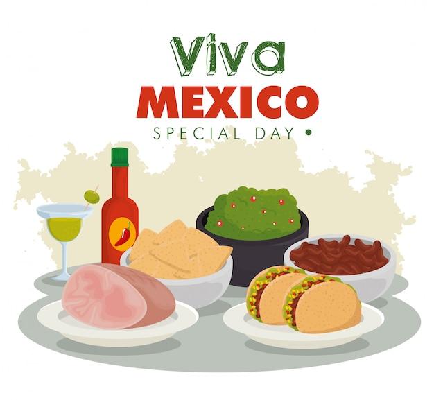 비바 멕시코. 축하 행사에 전통적인 멕시코 음식