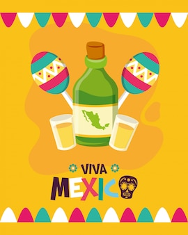 Бутылка текилы и маракасы для viva mexico