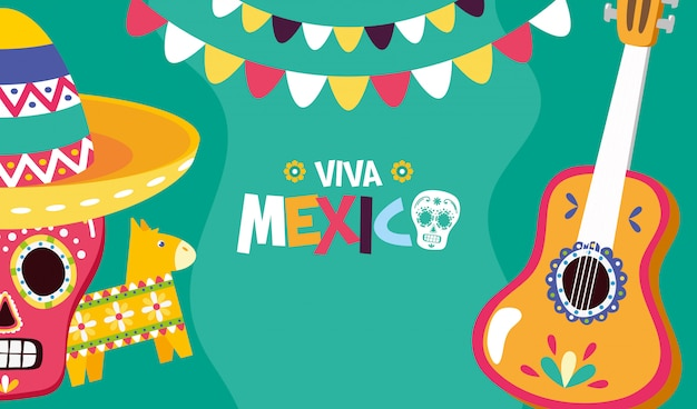 Viva mexicoのスカル、ピニャータ、ギター