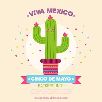 Хороший кактус фон с текстом «viva мексике»