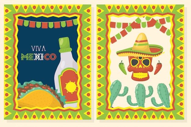 Празднование viva мексики с едой и маской смерти