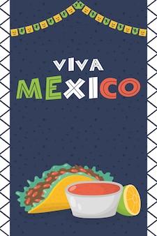 Празднование viva мексики с едой и соусами