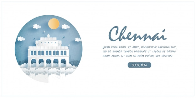 Vivekanandar ilam, chennai, india. world famous landmark with white frame and label. travel postcard and poster, brochure, advertising illustration.