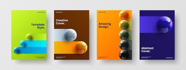 생생한 3d 구체 팜플렛 컨셉 번들