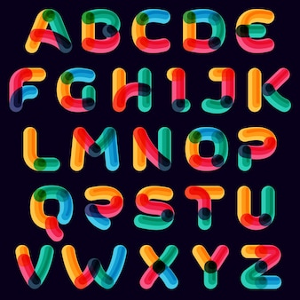 Vivid alphabet with overlapping lines on black background. vector typeface for vibrant identity, nightlife, techno sphere.
