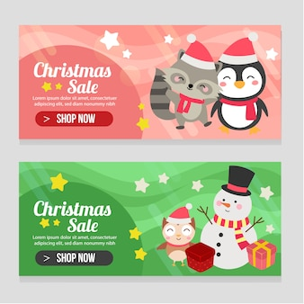 Vivid banner christmas template set with snowman penguin and fox