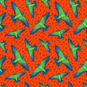 鮮やかな鳥のシームレスなパターンイラスト