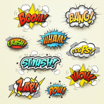Vivid colorful comic sound effects set over beige background