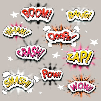 Vivid colorful comic sound effects set over grey background
