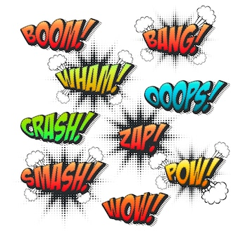 Vivid colorful comic sound effects set over white background