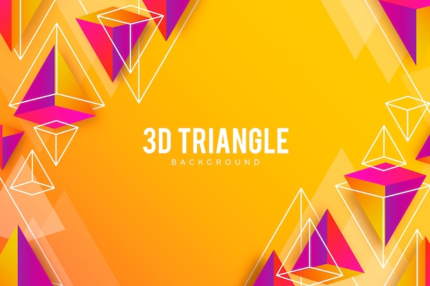 Vivid colors 3d triangles background Free Vector