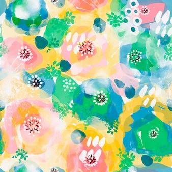 Vivid colors on crowded abstract watercolor seamless pattern