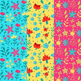 Vivid-colours flowers flat design spring pattern