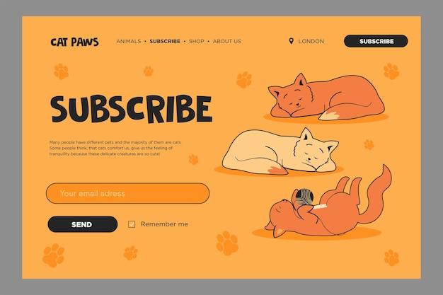 素敵な猫との鮮やかなメール購読テンプレート。眠っている子猫や遊んでいる子猫のオンラインニュースレターテンプレート。
