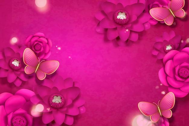 蝶と鮮やかなフクシア紙の花の装飾的な背景