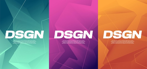 Vivid gradient abstract designs, colorful covers