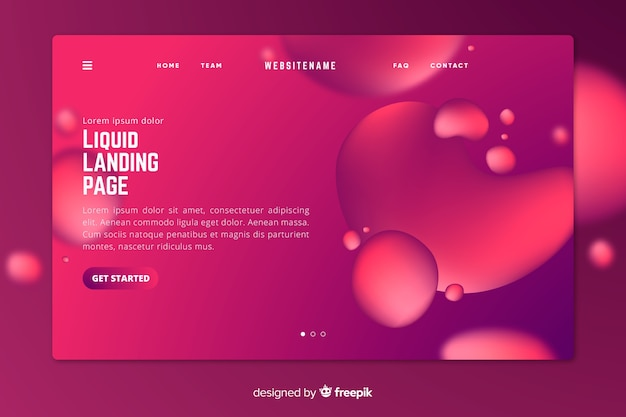 Vivid liquid landing page with bubbles