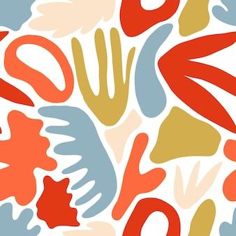 흰색 배경에 자연스러운 다채로운 모양이나 오점이 있는 생생한 현대적인 추상 원활한 패턴입니다. 포장지, 벽지, 직물 인쇄, 배경을 위한 평면 스타일의 트렌디한 잡종 벡터 일러스트레이션.