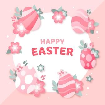 Яркая монохромная пасхальная иллюстрация в бумажном стиле с яйцами