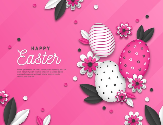 Vivid monochrome easter illustration in paper style with eggs