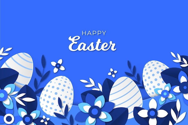 Vivid monochrome easter illustration in paper style
