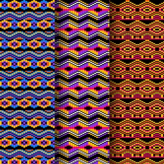 Vivid shapes of songket seamless pattern template